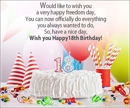 Happy 18th Birthday wishes for Friend