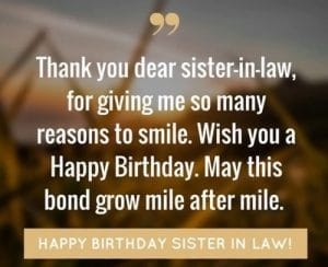 Happy birthday for sister in law
