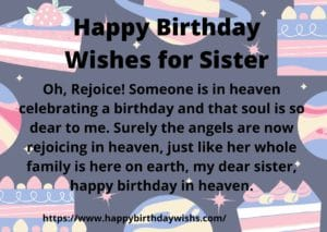for sister in heaven