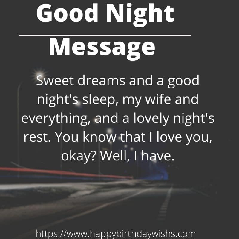 Sweet Good Night Message For Wife