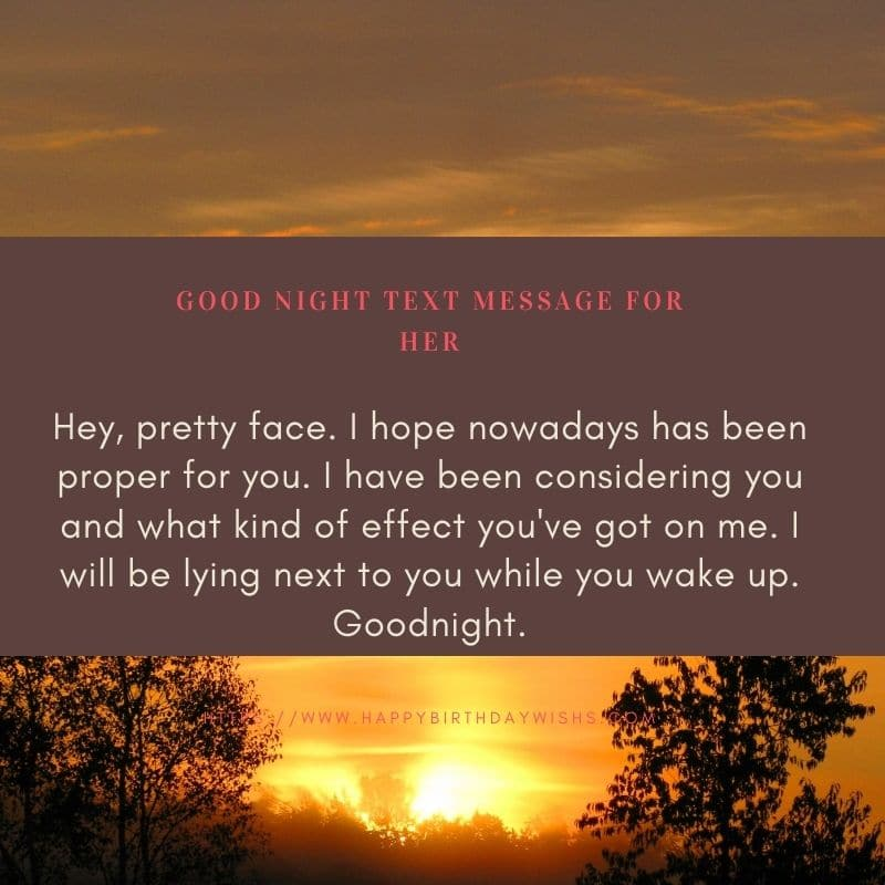 Good night text message for her