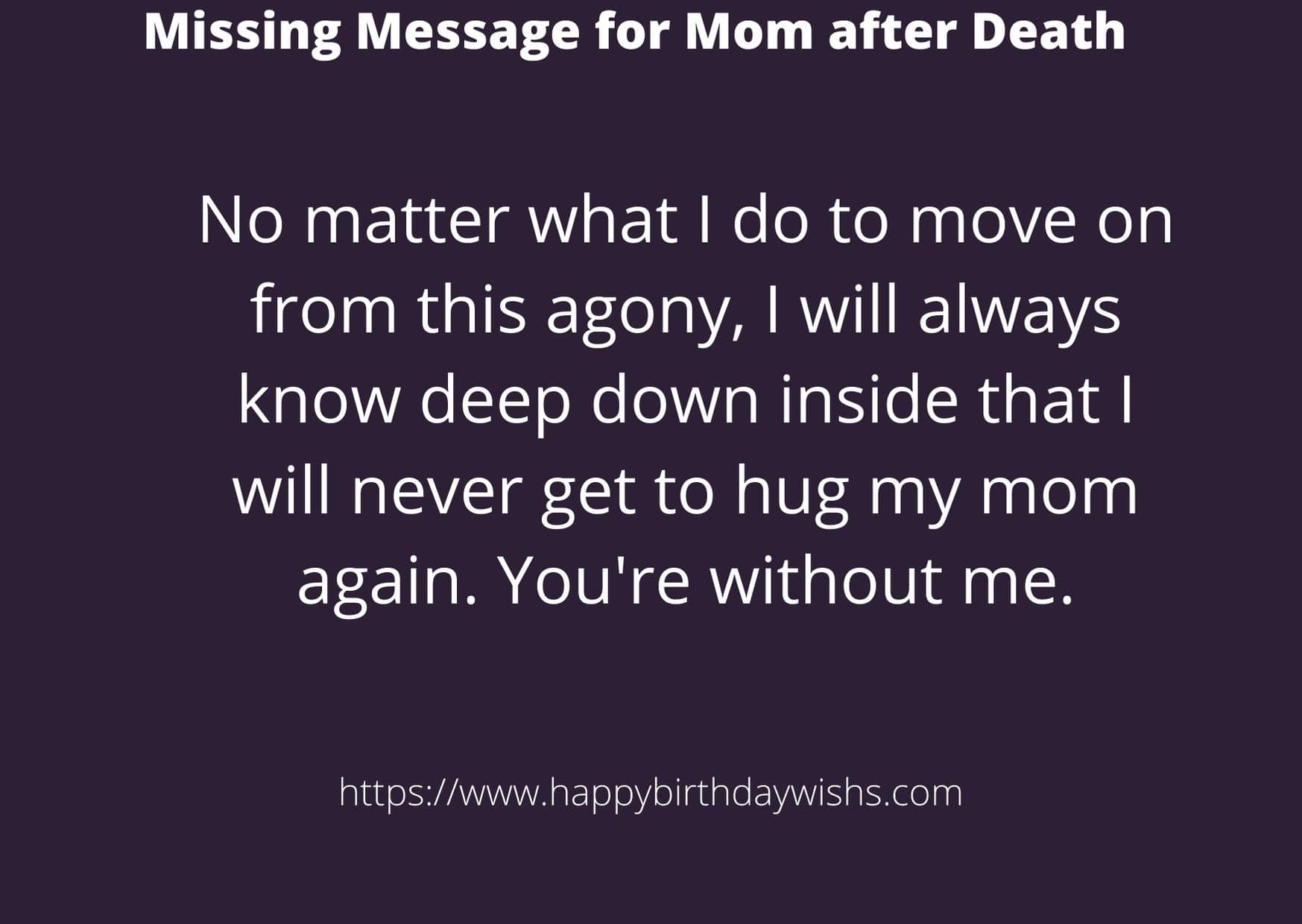 Message for mother after death