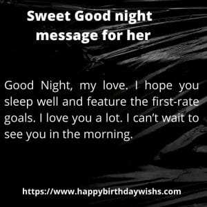 Sweet Good night text message for her
